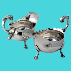 English Sauce Boats Pair Benjamin Cartwright I Sterling Silver 1749 London