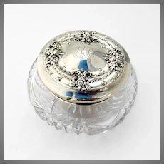 Repousse Dresser Jar Cut Crystal Wallace Sterling Silver Pat 1897 Mono EKH
