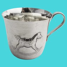 Tiffany Rocking Horse Baby Cup Hand Chased Sterling Silver Mono MHA
