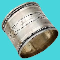 Wide Engine Turned Napkin Ring Beaded Rims Coin Silver Inscribed