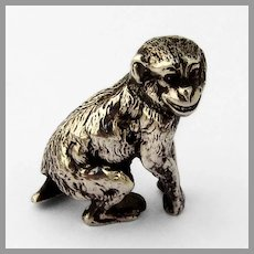 English Chimpanzee Figurine Nathan Hayes Sterling Silver 1904 Chester
