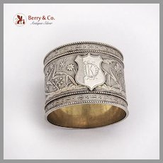 Aesthetic Japanesque Large Napkin Ring Coin Silver 1870 Mono KD