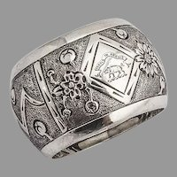 Scottish Floral Napkin Ring Boar Crest Hamilton Inches Sterling Silver 1897