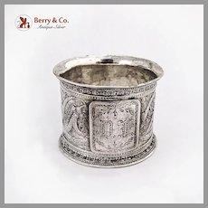 Aesthetic Embossed Arabesque Napkin Ring Coin Silver Mono DF
