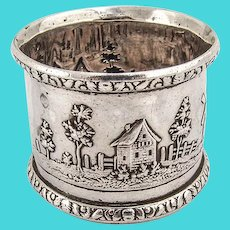 Architectural Large Napkin Ring Floral Borders Coin Silver 1880