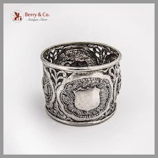 Indian Openwork High Relief Napkin Ring Sterling Silver