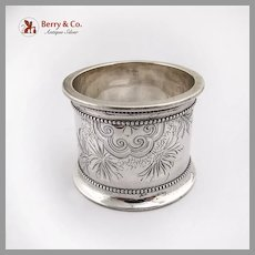 Aesthetic Bright Cut Engraved Napkin Ring Coin Silver 1880 Mono AWH