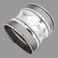 Milled Border Floral Napkin Ring Beaded Rims Coin Silver Mono W