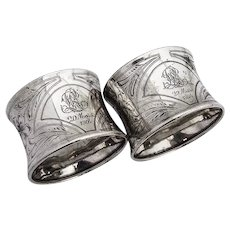 German Engraved Floral Napkin Rings Pair 800 Silver 1900s Mono LR