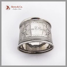 Engine Turned Napkin Ring Coin Silver 1870 Inscribed
