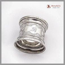 Wide Border Beaded Engraved Napkin Ring Coin Silver 1890 Mono B