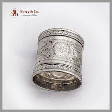 Ornate Napkin Ring Applied Borders Coin Silver 1870 Mono PR