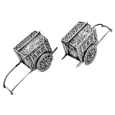 Japanese Rickshaw Wagon Salt Pepper Shakers Pair Sterling Silver