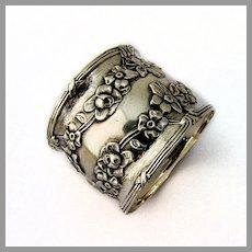 Floral Vine Napkin Ring Ribbon Thread Border Sterling Silver