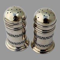 Gorham Pierced Design Salt Pepper Shakers Cobalt Glass Sterling Silver