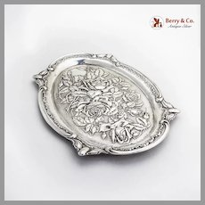 English Repousse Rose Oval Tray John Henry Wynn Sterling Silver 1908