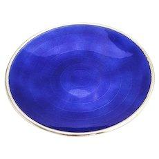 David Andersen Blue Guilloche Enamel Dish Plate Gilt Sterling Silver Norway