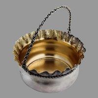Trompe L'oeil Sugar Basket Gilt Interior Schulz Fischer Sterling Silver 1875