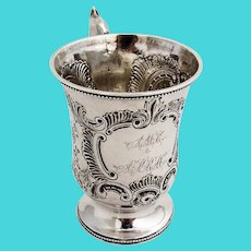 Repousse Bird Scroll Cup Beaded Rims Squire Bro Coin Silver 1850 Monograms