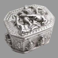 Indian Figural Scenic High Relief Box Sterling Silver