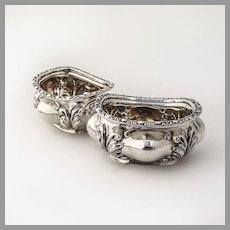 English Foliate Open Salt Dishes Pair Colen Cheshire Sterling Silver 1908