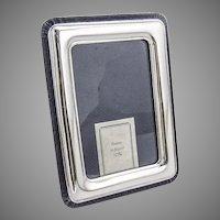 Italian Sterling Silver Picture Frame Rectangle Form Blue Velvet Back