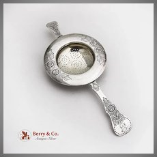 Engraved Floral Tea Strainer Gilt Interior 830 Standard Silver Mono P