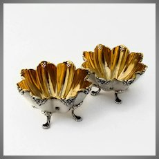Towle Floral Footed Master Salt Dishes Pair Sterling Silver Mono LBS