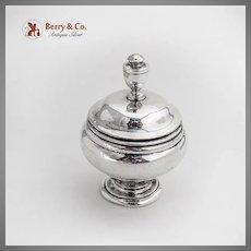 Lidded Open Salt Dish Cobalt Glass Liner Becht Hartl Sterling Silver 1940s
