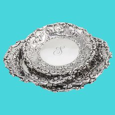 Gorham Repousse Floral Nut Dishes Set Sterling Silver 1896 Mono S