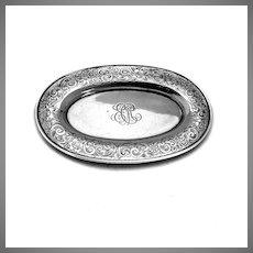 Engraved Oval Dresser Tray Gorham Sterling Silver 1909 Mono ECM