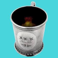 Matte Finish Childs Cup Floral Base Wendt Sterling Silver 1860 Mono JKB
