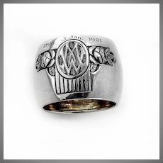 German Wide Floral Napkin Ring Jakob Grimminger 800 Silver Mono WM