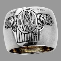 German Wide Floral Napkin Ring Jakob Grimminger 800 Silver Mono WM