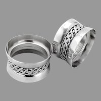Art Deco Napkin Rings Pair Applied Braided Band French Silverplate