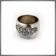 German Wide Floral Napkin Ring Jakob Grimminger 800 Silver Mono RW