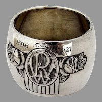 German Wide Floral Napkin Ring Jakob Grimminger 800 Silver Mono RW