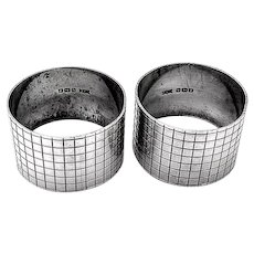 English Art Deco Engraved Napkin Rings Pair Rose Son Sterling Silver 1948