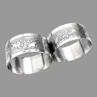 Art Deco Scenic Engraved Napkin Rings Pair French Silverplate