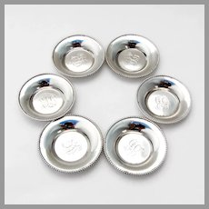 Towle Small Beaded Nut Cups Set Sterling Silver Mono ELB