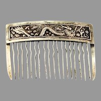 Chinese Export Dragon Motif Small Hair Comb Sterling Silver