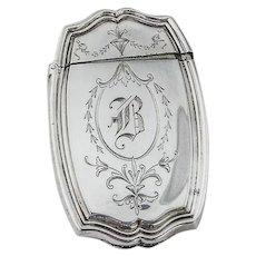 Hepplewhite Engraved Match Safe Reed Barton Sterling Silver 1907 Mono B