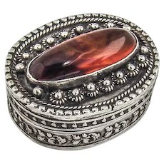 Ornate Oval Pill Box Banded Agate Inset Sterling Silver