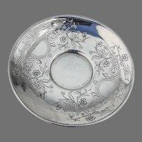 Art Nouveau Engraved Saucer Russian 84 Standard Silver 1892 Moscow