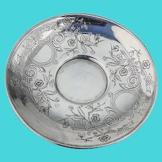 Art Nouveau Engraved Saucer Russian 84 Standard Silver 1892 Moscow