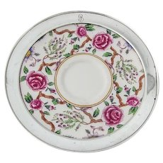 Royal Doulton Rose Saucer Sterling Silver Border Shreve Mono B