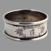 Lunt Napkin Ring Applied Rims Sterling Silver Mono P