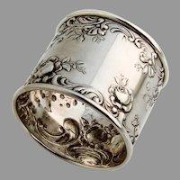 Gorham Rose Scroll Wide Napkin Ring Sterling Silver No Mono