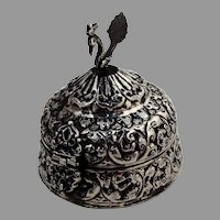 Indian Colonial Silver Repousse Jewelry Box Figural Bird Finial 1900