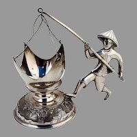Figural Tea Strainer Underplate Set Hong Ky 900 Silver Vietnam